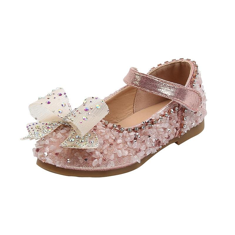 Fashion Rhinestones Bow Leather Shoes