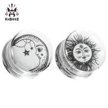 KUBOOZ Latest Fashion Sun Moon Transparent Acrylic Ear Plugs Tunnels Piercing Body Jewelry Earring Expanders Stretchers 8-30mm
