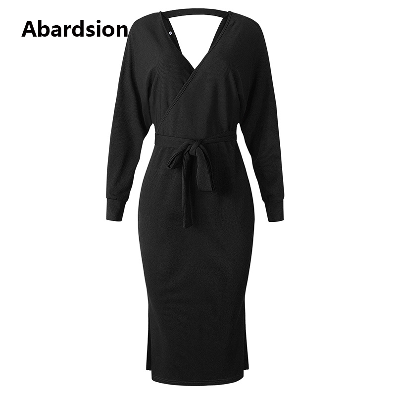 Abardsion Women Knitted Sweater Dress Wrap Belted Tunic Midi Vestidos Long Sleeve Double V Neck Split Casual Autumn Dresses 19 14