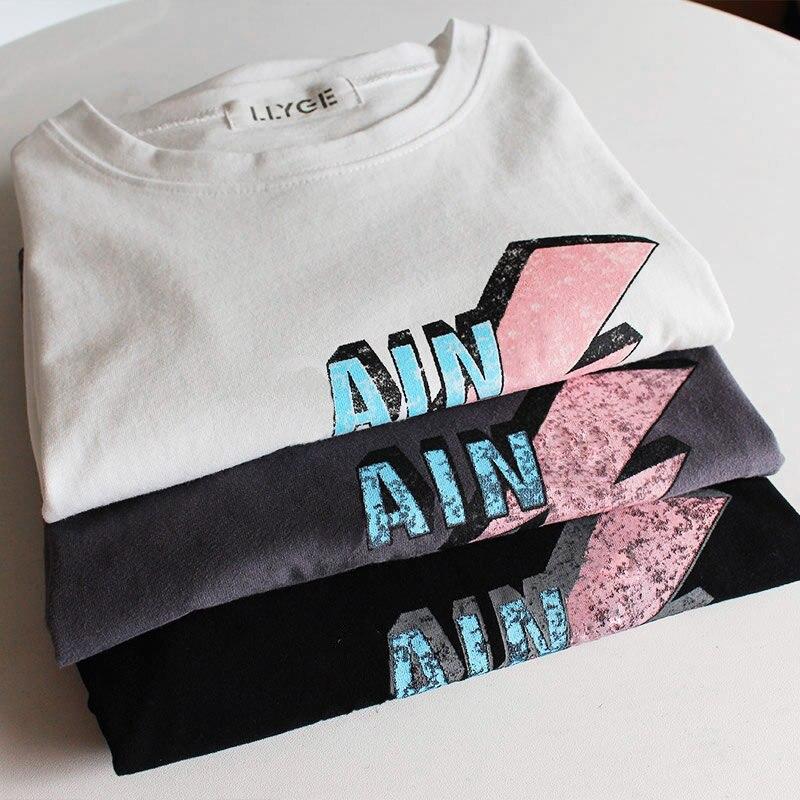 100% bawełna damska koszulka z krótkim rękawem Top O-Neck czarny biały list drukuj koszulki kobieta 2019 Summer Lady Tee topy w magazynie 5