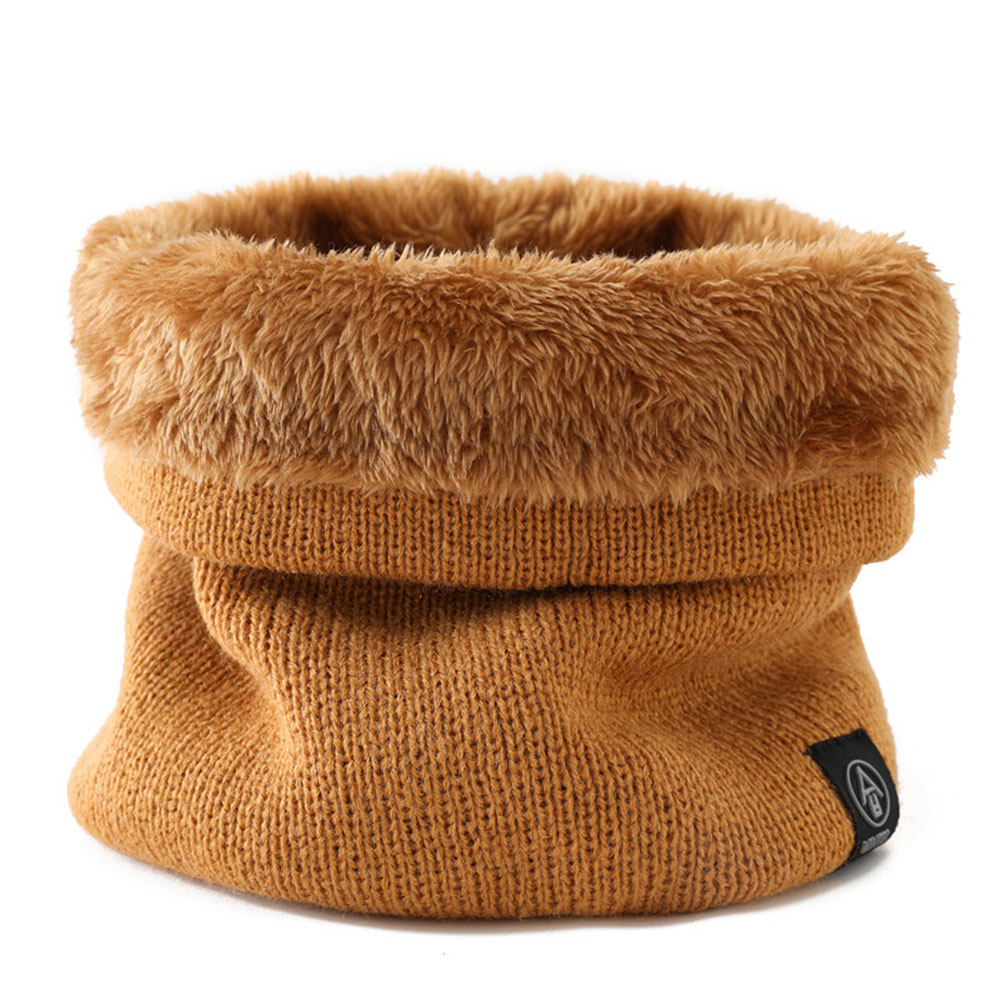 Solid Color Winter Infinity Scarf For Women Men Neck Warmer Knit Circle Loop Soft Plush Lined Scarves S009