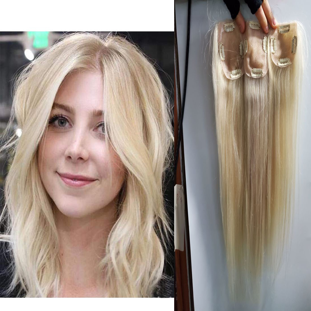 Women Toupee Straight Brazilian Remy Human Hair Topper 120% Density Hand Tied Hairpiece With Clip 613 Blonde Color Comingbuy