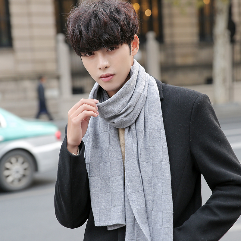 Winter 100% Wool Scarf Men Warm Soft Scarves Formal Business Male Plaid Wool Scarf Classical Brand Wool Wraps Outdoor Shawl Herbal Products cb5feb1b7314637725a2e7: Black Grey|Grey|Khaki