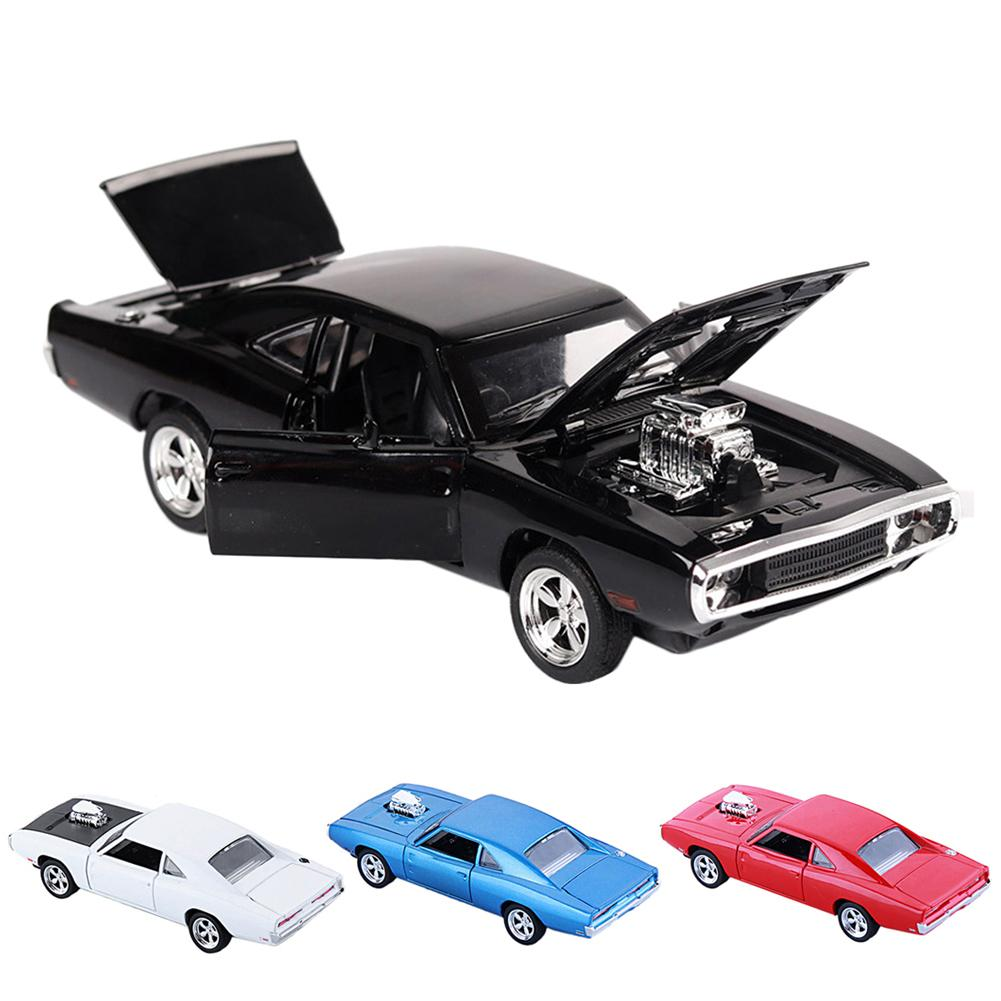 1:32 Dodge Charger Diecast Metal Model Car Sound And Light Pull-back Vehicle Toy