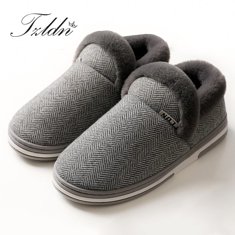 2019 TZLDN Men Winter Warm Solid Color Cotton Shoes Plush Soft Indoor Comfortable Flats Non-Slip Indoor Home Slippers title=