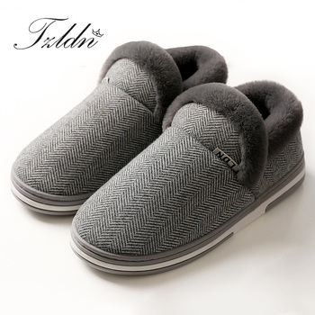 2019 TZLDN Men Winter Warm Solid Color Cotton Shoes Plush Soft Indoor Comfortable Flats Non-Slip Indoor Home Slippers diji girls soft coral velvet floor home indoor slippers quiet cotton fluffy slippers for women comfortable shoes black