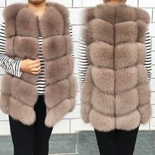 Chaqueta de piel auténtica para mujer, chaleco de piel de zorro Natural de alta calidad, lujosa de moda, cálida, sin mangas, con hebilla oscura, novedad de invierno de 2020