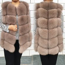 Vest Jacket Fox-Fur Real-Fur-Coat Winter Women's Luxurious Sleeveless Natural Fashion