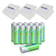 12 X PKCELL Battery AA Ni MH 1.2V 2200mAh Low Self Discharge AA Rechargeable Battery Batteries With 3Pcs AA /AAABattery Hold Box