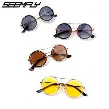 Seemfly Fashion Round Kids Sunglasses Children Sun Glasses Anti-uv Baby Retro Eyeglasses Girl Cool UV400 Oculos Infantil De Sol
