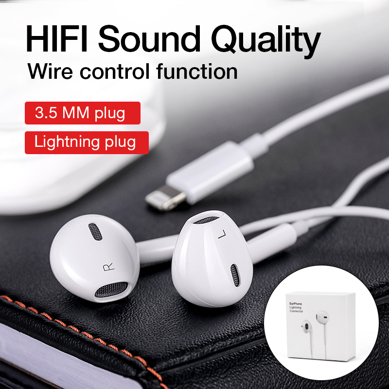 Lighting Earphone Wired Headphones HiFi Stereo Earbuds Music Headset With Mic For Apple iPhone 7 8 Plus 11 Pro X XS Max XR iPad