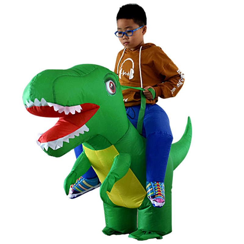2019 novo dinossauro traje inflável terno halloween cosplay t-rex fantasia vestido crianças passeio em dino purim trajes de festa crianças