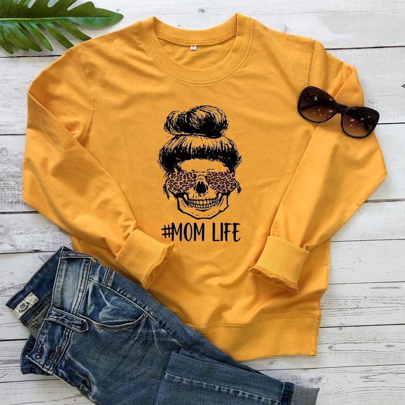 Colored Leopard Mom Life Sweatshirt Fashion Women Long Sleeve Motherhood Pullovers Funny Mother's Day Gift Sweatshirts Femme 13