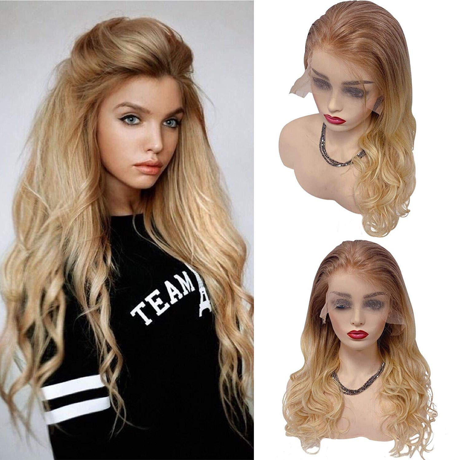 613 Blonde Human Hair Lace Front Wigs Natural Wave For Women 24 Inches Golden Brown Omber 13x4 Pre Plucked 150% Density #12/613