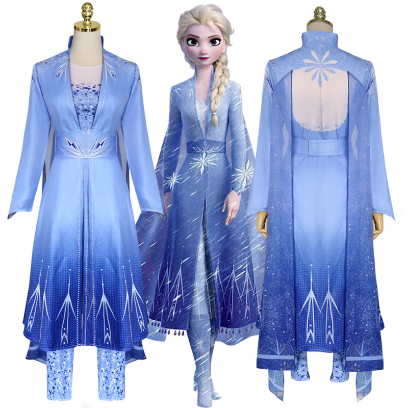 Movie Anna Elsa 2 Costumes Princess Elsa Cosplay Women Christmas Halloween Costume Winter Elza Vestidos For Adult Girls Dress