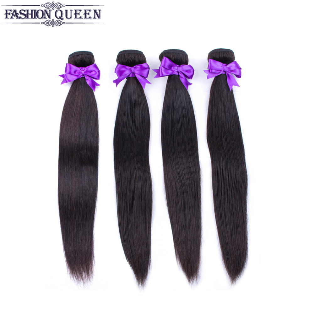 Peruvian Straight Hair 4Bundles One Pack Non Remy Double Weft Hair Weaving 100% Human Hair Extensions 8