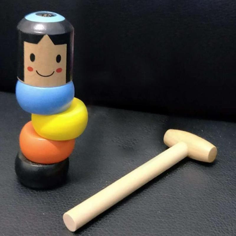 1set Immortal Daruma Unbreakable Wooden Man Magic Tricks Close Up Magia Mentalism Illusion Gimmick Props Japan Traditional Toys