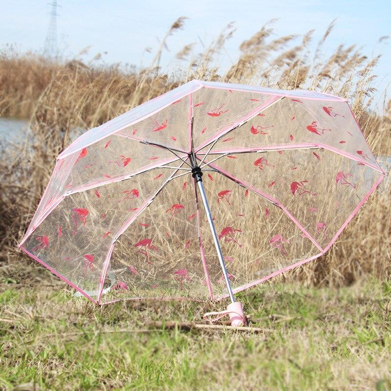 Flamingos Shadow Automatic Tri-Fold Umbrella Parasol Sun Umbrella Sunshade