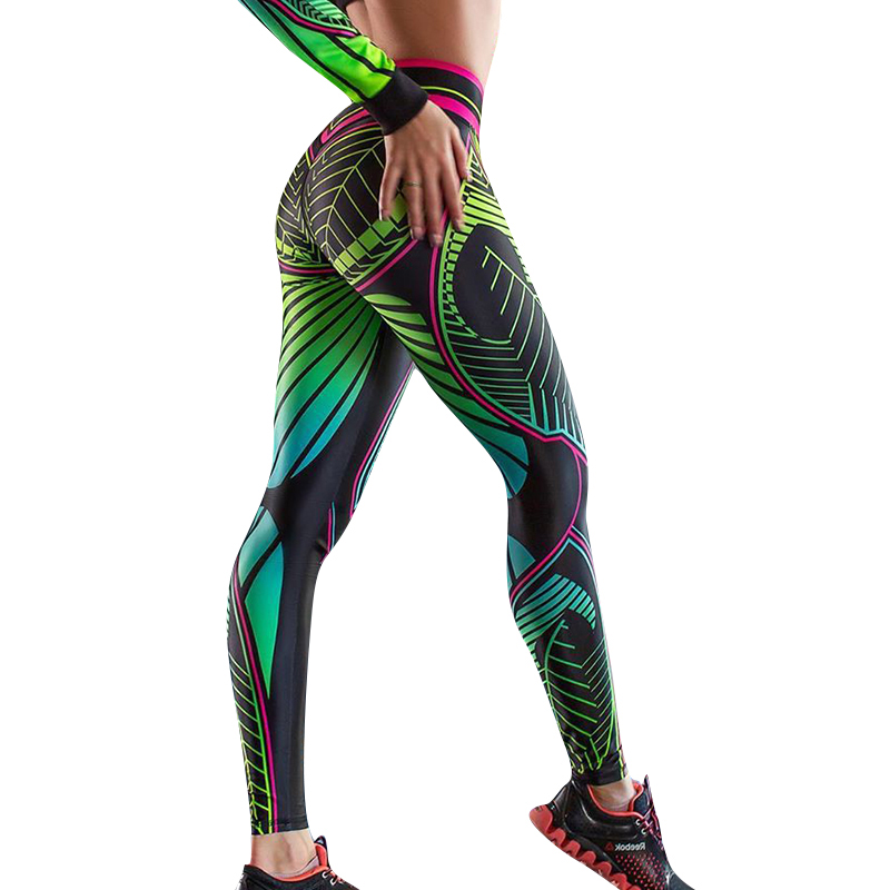 NORMOV Leggings Workout Push-Up Print Ankle-Length Polyester Casual-V Feminina Wasit title=