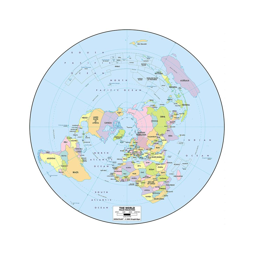 Conventional World Map Round 90x90cm Non-woven Waterproof No-fading Map For Cultural Education