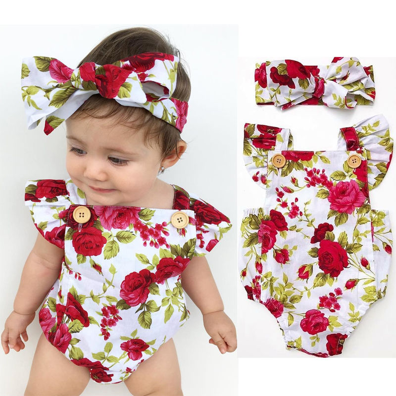 Baby Girls Summer <font><b>Bodysuits</b></font> Cotton Floral Clothes Fashion Red flower <font><b>Short</b></font> <font><b>Sleeve</b></font> Jumpsuit with Headband Outfits image