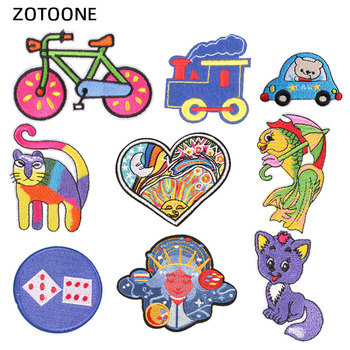 ZOTOONE Bike Parches Embroidered Iron on Patches for Clothing Cute Cat Heart Patches DIY Stripes Cartoon Car Badges Appliques I image