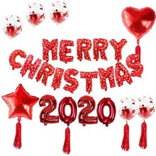 Christmas Party Balloons Banner Merry 2020 Garland Baloon Happy Decoration Ballon Supplies