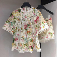 GoodliShowsi Designer Women Fashion Flower Print Embroidery Women's 2 Piece Set Hollow Out Loose Blouse Top + Shorts Summer New