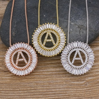 Hot Sale A-Z Initials 3 Colors Chooses Micro Pave CZ Letter Pendant Necklaces For Women Charm Chain Family Jewelry Gift 4