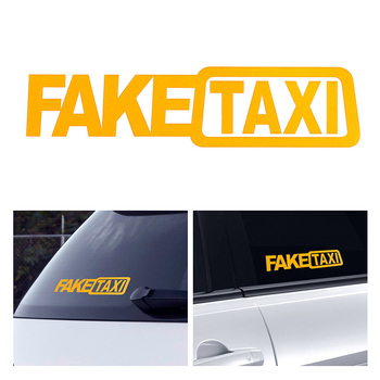 2pcs Funny Window Vinyl Decals 20*5cm Car Styling Self Adhesive Emblem Car Stickers FAKE TAXI Fake Taxi Drift Sign Funny Decals image