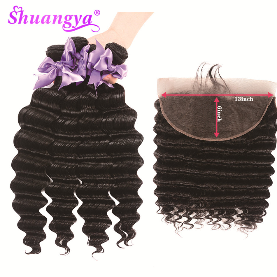 13x6 Lace Frontal With Bundles Indian Loose Deep Wave Bundles With Frontal 100% Human Hair Bundles Remy Hair Extension Shuangya