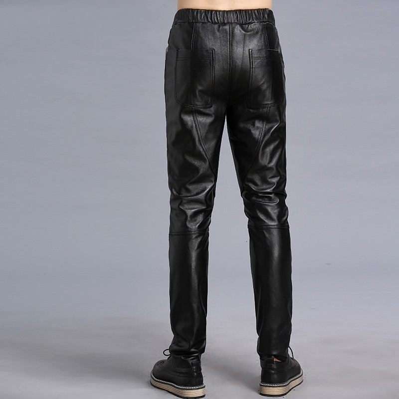 Real Leather Male Pantalon 2020 New Autumn High Street Business Classic Harem Male Trousers Biker Slim Skinny Pencil Pants Man