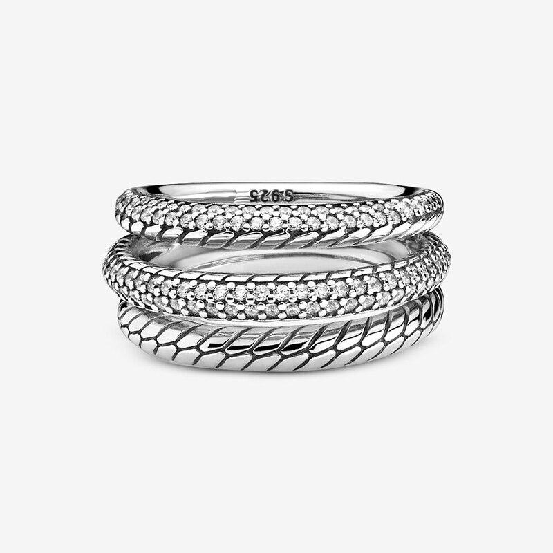 Bague d'automne pour femmes, en argent Sterling 925, Triple bande, Pavé, motif serpent, marque originale, bijoux cadeau, nouvelle collection 2020 3
