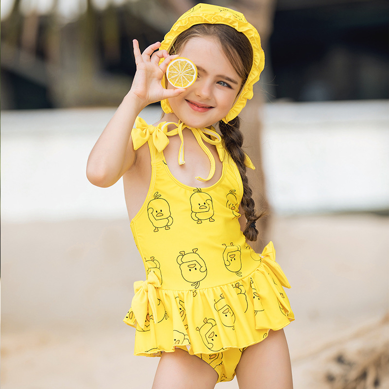 2019 CHILDREN'S Swimsuit Children Korean-style Cute Girls Cartoon Baby Dress-Infants Medium And Small Swimming Suit