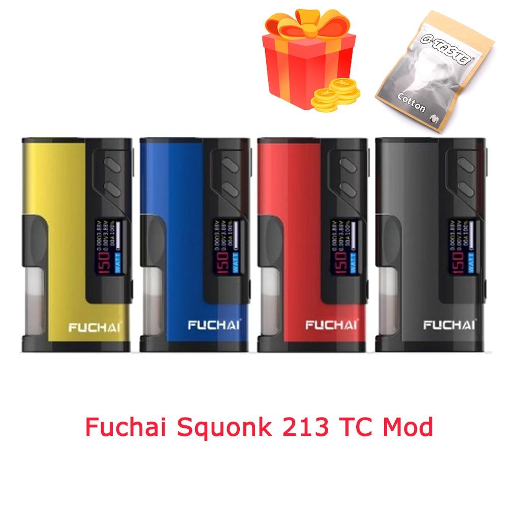 Electronic Cigarette Fuchai Squonk 213 TC Mod 150W Fit 21700 20700 18650 Battery 510 Thread Atomizer Vape Box Mod
