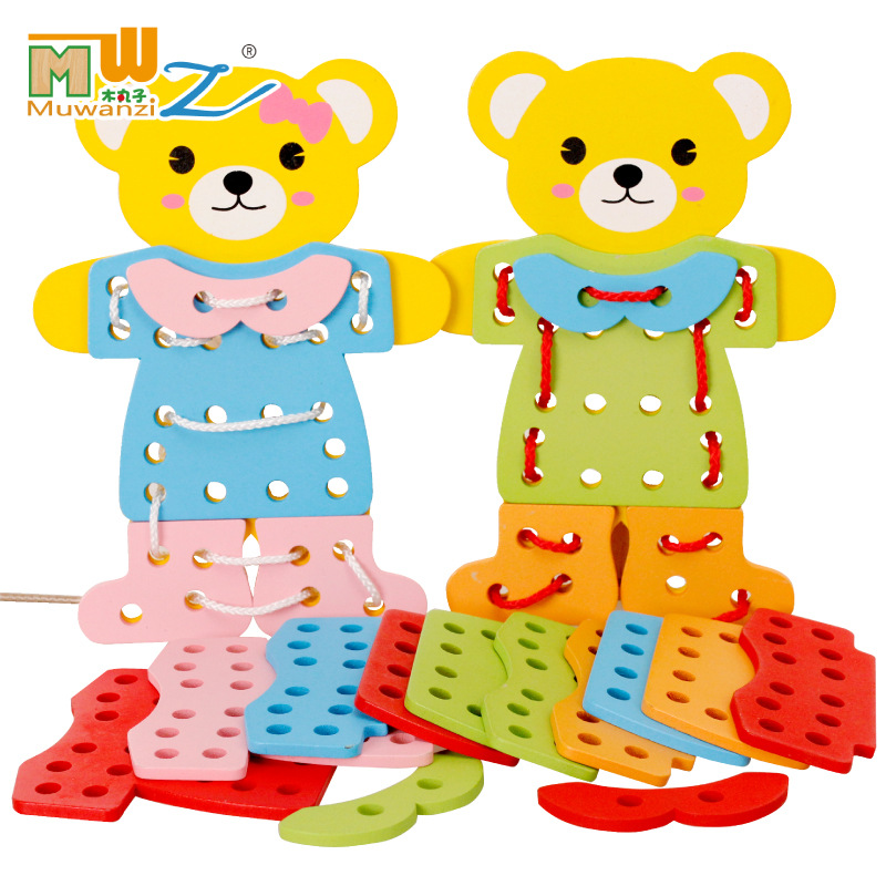Children Threading Building Blocks Animal Threading Board Jigsaw Puzzle Educational Early Childhood Wood Dress Wearing Rope Game