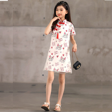 Chinese Cheongsams Straight Dresses for Girls Summer Clothes 3 To13 Years Old Cute Cat Tulle Kids Girl Dress Children's Clothing