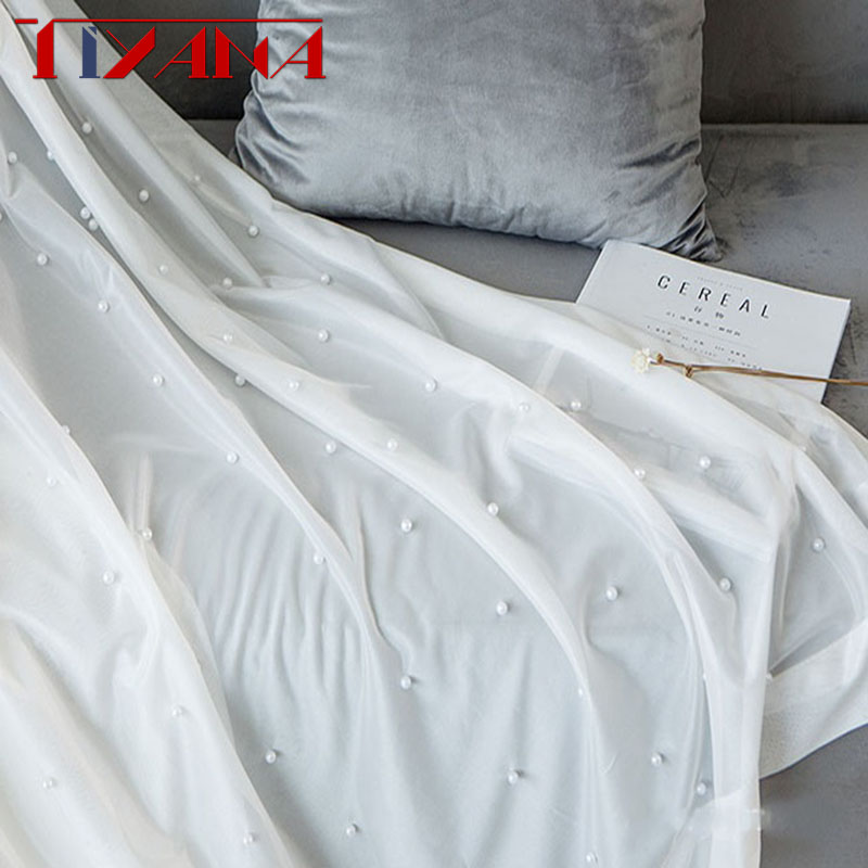 Luxury Beaded Pure White Tulle Curtain For Living Room Bedroom Bay Window Balcony Pure White Yarn Custom Sheer PanelT216#4