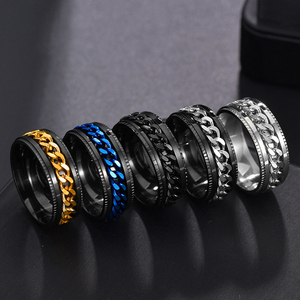 Punk 8mm Spinner Chain Men Rotatable Ring Black Blue Stainless Steel Rotatable Cool Jewelry Party Gift Anel Alliance(China)