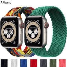 Boucle Solo tressée pour Apple Watch, en tissu Nylon élastique, 44mm 40mm 42mm 38mm, pour iWatch série 3 4 5 SE 6