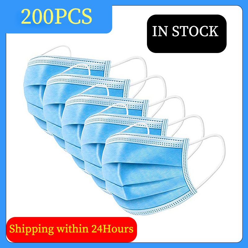 100Pcs Disposable Face Mask 3-Ply Protective Non-woven Dust Masks Elastic Mouth Soft Breathable Hygiene Safety Face Masks