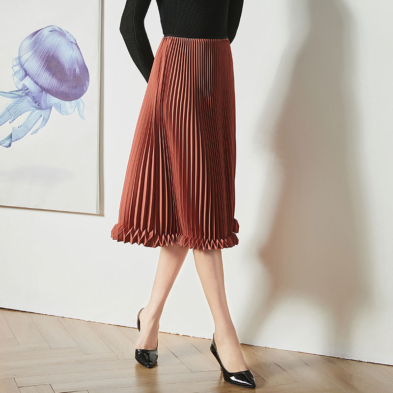 Fold Art Skirt Spring and autumn The 2019 paragraph Out of the ordinary Fashion Sense design