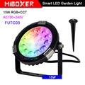 Miboxer 15 Вт RGB + CCT умный светодиодный садовый светильник FUTC03 AC100 ~ 240 В IP65 водонепроницаемая светодиодная уличная лампа сад освещение светильник...