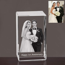 Personalized Custom 2D 3D Cube Crystal Photo Frame Laser Etched Engraving Gifts for Wedding Anniversary Birthday