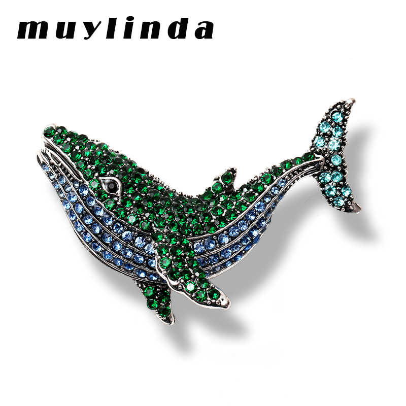 Muylinda Fashion Metal Brooches For Women Rhinestone <font><b>Whale</b></font> Fish Brooch Jewelry Big Banquet Clothes Pin And Scarf Clip image