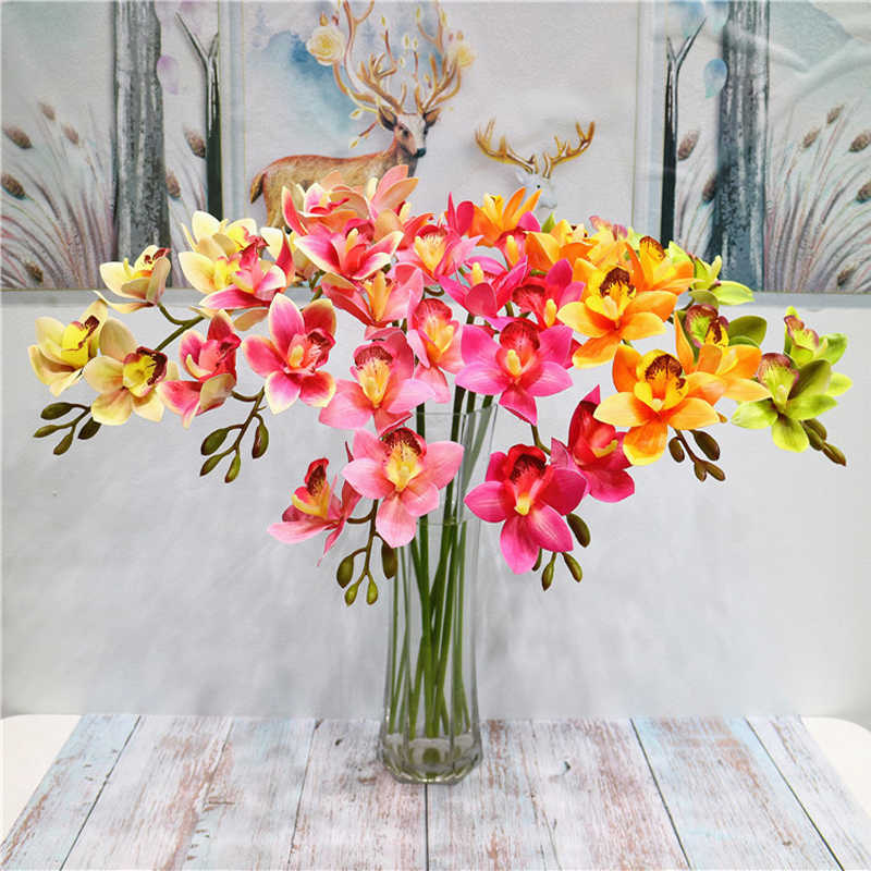 79 cm High-end Artificial flower 3d print Butterfly Orchid green plastic fake flower Cymbidium home decoration East Asian Orchid
