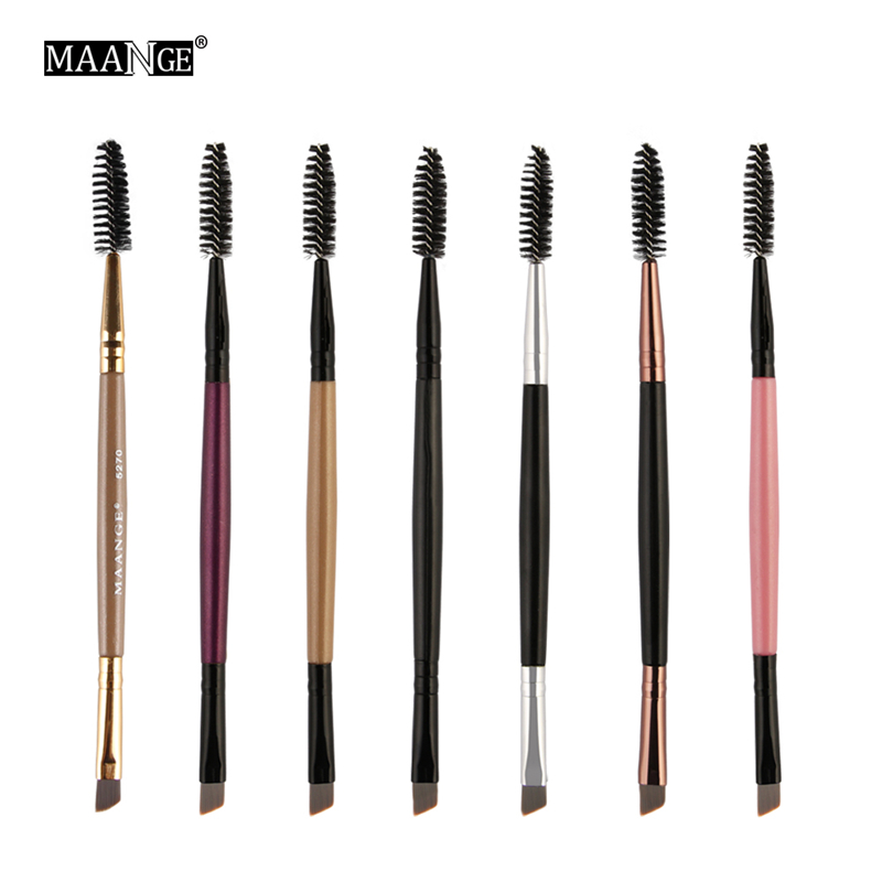 7 Colors Makeup Brushes Duo Brow Makeup Brush Wood Handle Double Sided Eyebrow Flat Angled Brushes Wholesale Pinceaux Maquillage