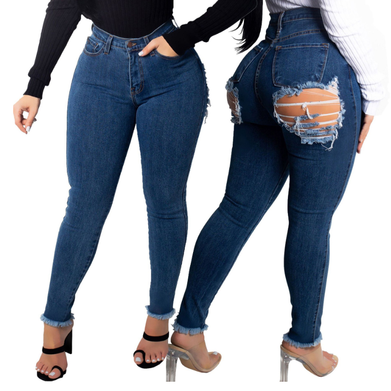 Sexy Back Hole Ass Butt Ripped Jeans For Women High Waist Destroyed Jeans Woman Stretch Skinny Push Up Jeans Big Hips Denim Pant