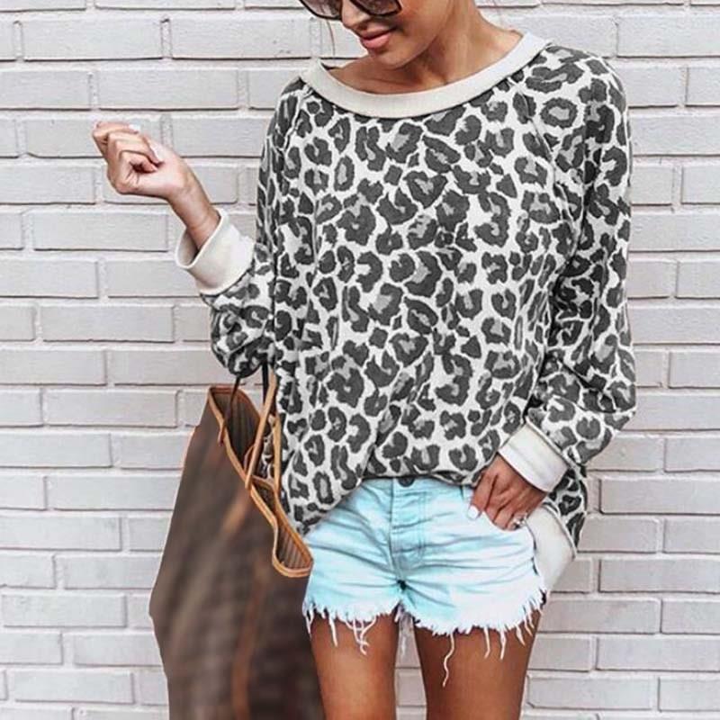 Bonita camiseta de leopardo con cuello redondo y estampado de cuello redondo para mujer Jersey Casual camiseta suelta - 2