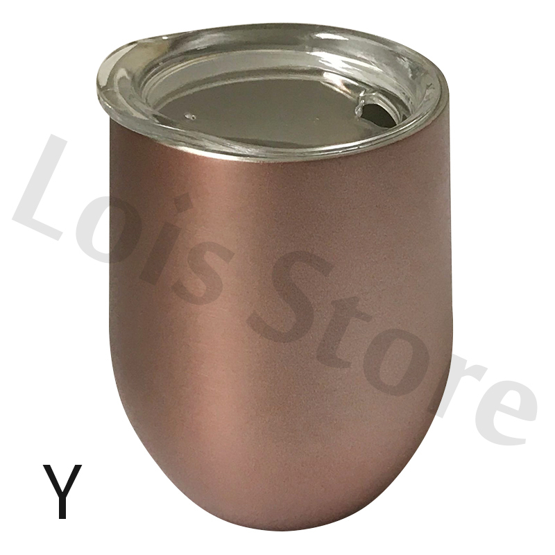 Wholesale 50pcs/lot 12oz Wine Tumbler Stainless Steel Wine Glass Egg Cup 2 layers Vacuum Insulated Beer Mug Wedding Party Gifts